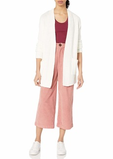 kensie Women's Cotton Blend Lightweight Cable Knit Cardigan with Pockets