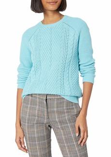 kensie Women's Cotton Blend Lightweight Cable Knit Sweater