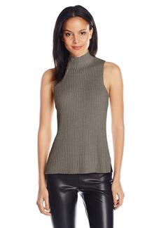 Kensie Women's Cotton Blend Sleeveless Mock Neck Sweater Shell  Medium