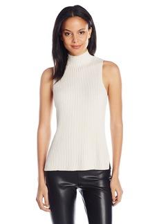 Kensie Women's Cotton Blend Sleeveless Mock Neck Sweater Shell  X-Large