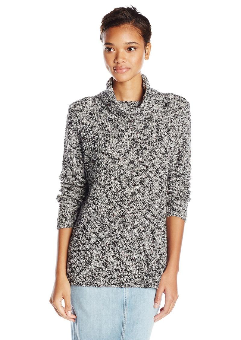 kensie Women's Cotton Slub-Blend Turtleneck Sweater