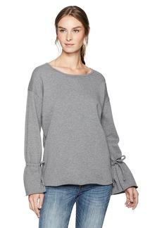 kensie Women's Cozy Fleece Bell Sleeve Sweatshirt Heather ash S