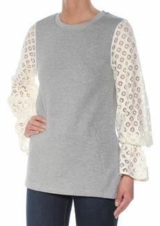 kensie Women's Cozy Fleece Sweatshirt with Lace Sleeve heathery Grey Combo M
