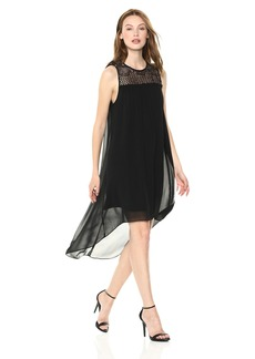 kensie Women's Crepe Chiffon High Low Hem Lace Yolk Dress  XL