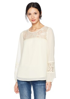 kensie Women's Crepe Chiffon Long Sleeve Lace Blouse tusk M
