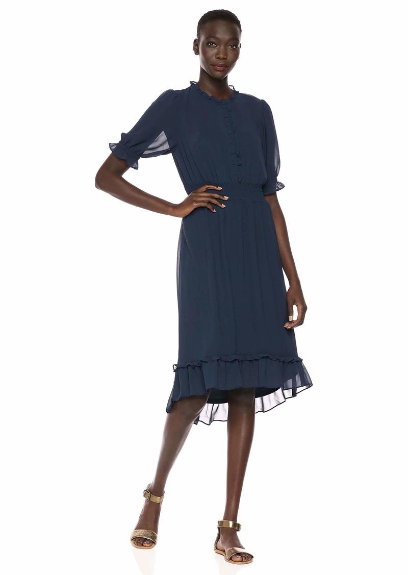 kensie Women's Crepe Chiffon Midi Dress  Extra Small