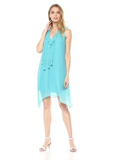 kensie Women's Crepe Chiffon Ruffle V-Neck Dress  XL