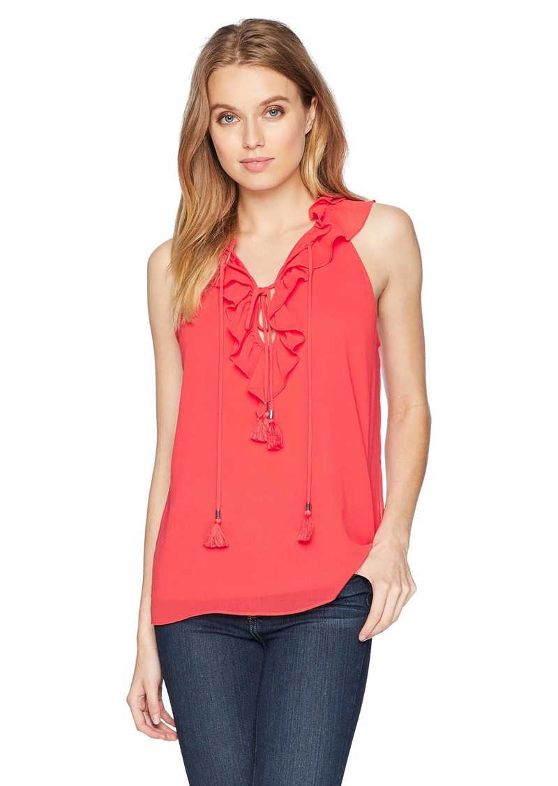 kensie Women's Crepe Chiffon Top red Pepper XL
