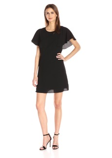 kensie Women's Crepe Flutter Sleeve Fit and Flare Dress