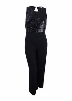 kensie Women's Crepe Jumpsuit with Sequin Bodice  XL