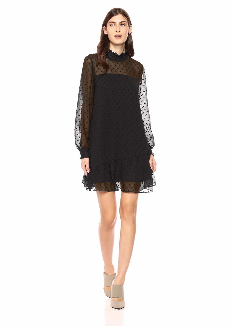 kensie Women's Crinkle Swiss Dot Dress  S