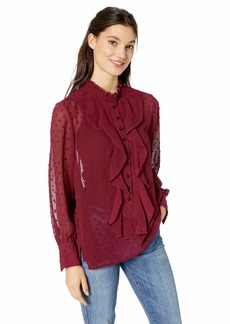 kensie Women's Crinkle Swiss Dot Ruffle Front Top  M