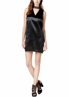 kensie Women's Crinkled Satin Gigi Neckline Dress  M