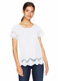 kensie Women's Crochet Embroidered Cotton Top  L