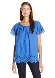 Kensie Women's Crochet Embroidered Cotton Top  Small