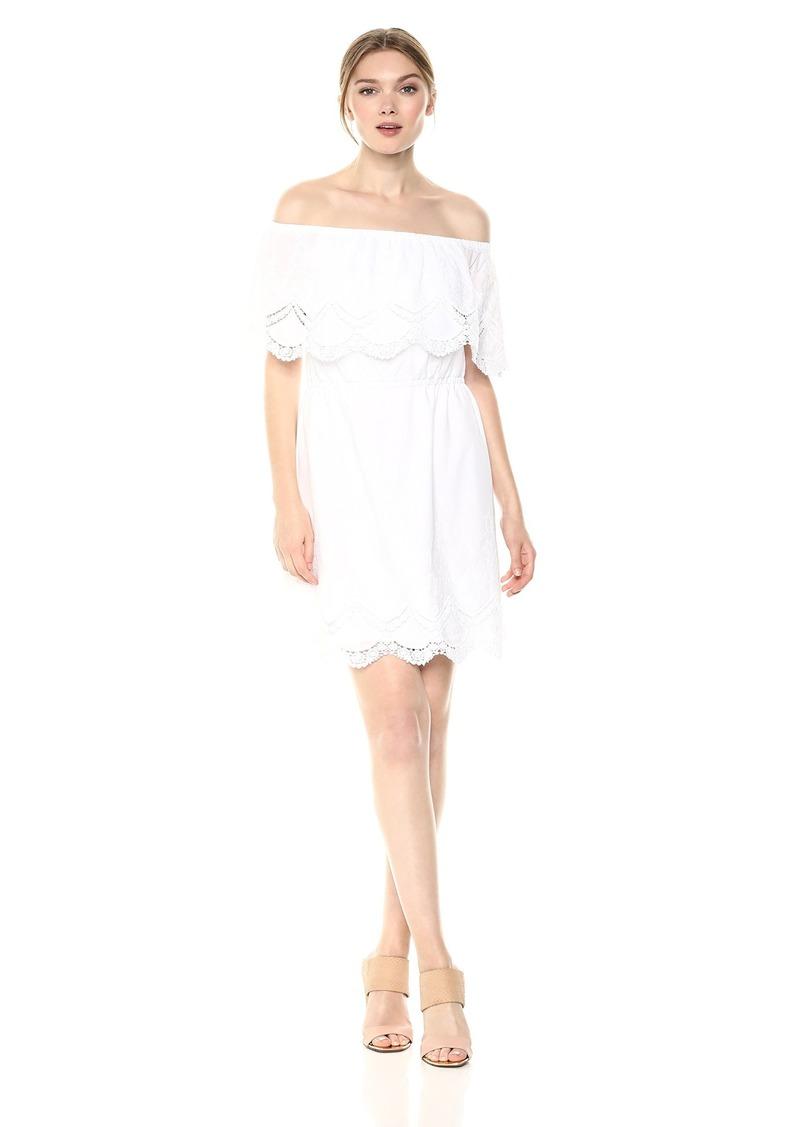 kensie Women's Crochet Embroidered Off The Shoulder Cotton Dress  L
