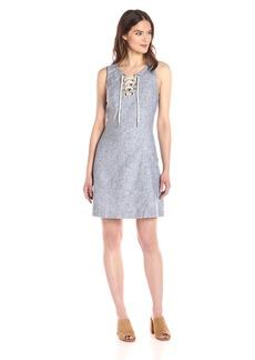 Kensie Women's Cross Dye Linen Blend Lace up Dress  M