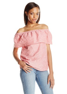 kensie Women's Cross Dye Linen Blend Off Shoulder Top  XS