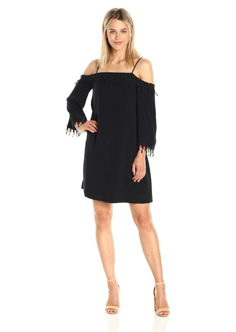 kensie Women's Crosshatch Rayon Lace Cold Shoulder Dress  M