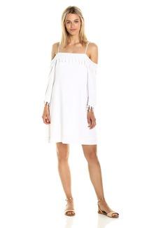 Kensie Women's Crosshatch Rayon Lace Cold Shoulder Dress  S