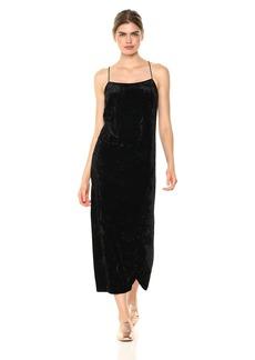 kensie Women's Crushed Velvet Slip Maxi Dress  XS