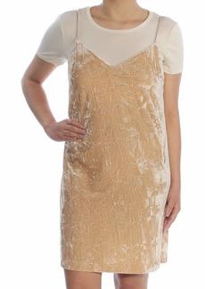 kensie Women's Crushed Velvet Two-fer Dress with Shirt  S