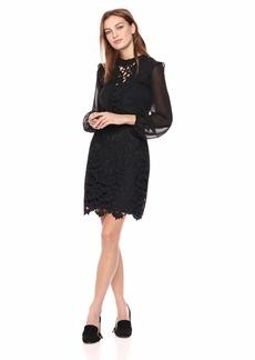 kensie Women's Cutout Lace Front Dress  L