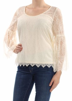 kensie Women's Dainty V Neck Lace Top tusk M