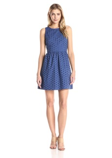 Kensie Women's Daisy Dot Eyelet Dress