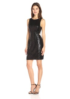 Kensie Women's Dense Sequin Jersey Dress with Cut Out Side  M