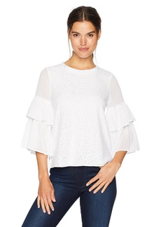 kensie Women's Doily Lace Tiered Sleeve Top  XS