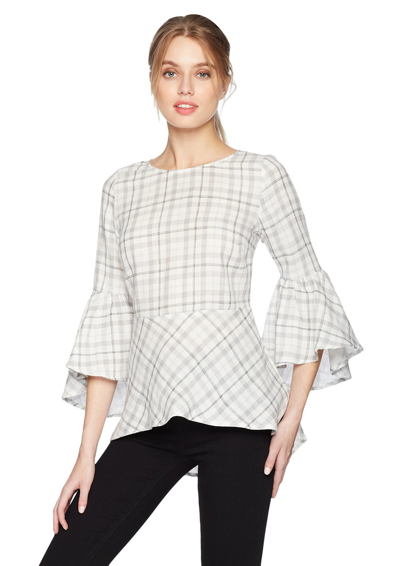 kensie Women's Double Layer Plaid Top with Bell Sleeve  M