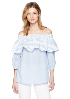 kensie Women's Double Stripe Off The Shoulder Top  M