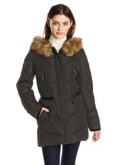 Kensie Women's Down Coat with Faux Fur Hood Diamond Quilted Sleeve