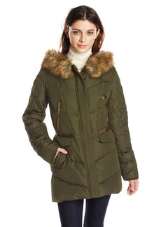 Kensie Women's Down Coat with Faux Fur Hood Diamond Quilted Sleeve