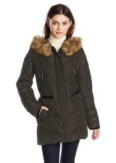 kensie Women's Diamond-Quilted Down Coat with Faux Fur Hood