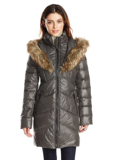 kensie Women's Down Jacket with Faux Fur Hood  XL