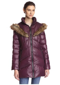 kensie Women's Down Jacket with Faux Fur Hood  S