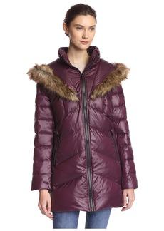 kensie Women's Down Jacket with Faux Fur Hood  S