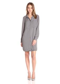Kensie Women's Drapey Crepe Shirt Dress with Pockets  L