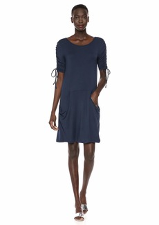 kensie Women's Drapey French Terry Dress Navy Extra Small