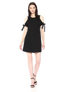 kensie Women's Drapey French Terry Dress with Cold Should  L