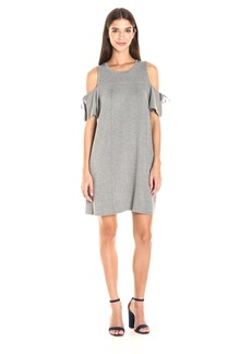 Kensie Women's Drapey French Terry Dress with Cold Shoulder  L