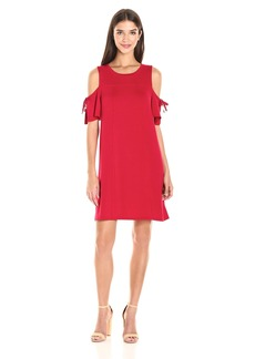 kensie Women's Drapey French Terry Dress with Cold Shoulder  S