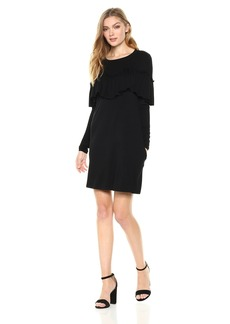 Kensie Women's Drapey French Terry Dress with Pop Over Ruffle Layer  M