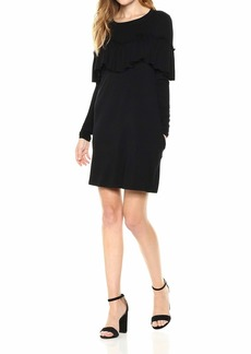 kensie Women's Drapey French Terry Dress with Pop Over Ruffle Layer  S