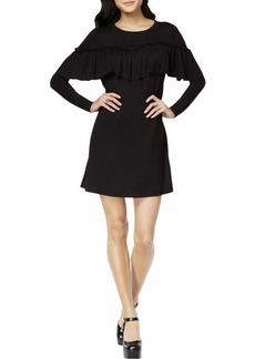 kensie Women's Drapey French Terry Dress with Pop Over Ruffle Layer  XL