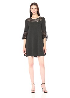 kensie Women's Drapey French Terry Long Sleeve Lace Dress  M