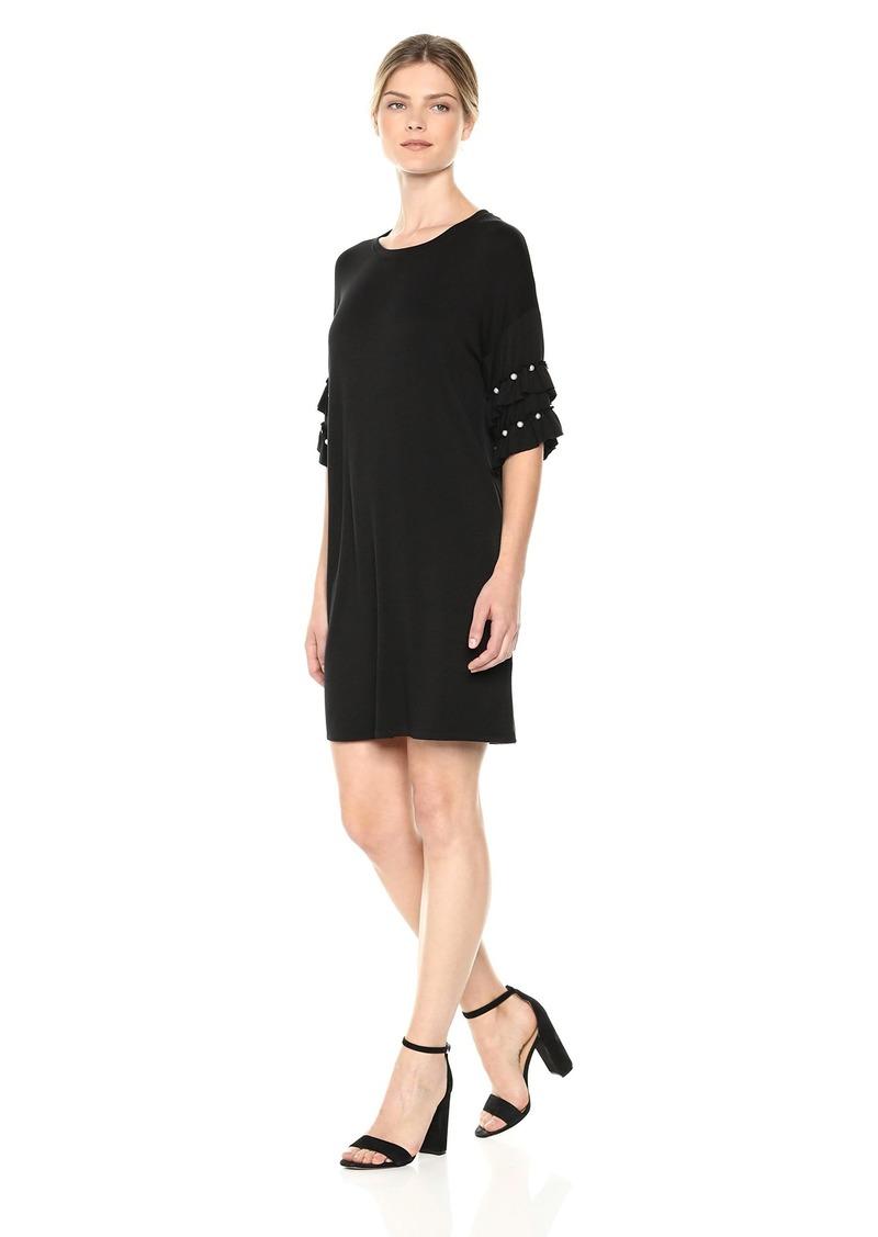 kensie Women's Drapey French Terry Pearl Ruffle Dress  M