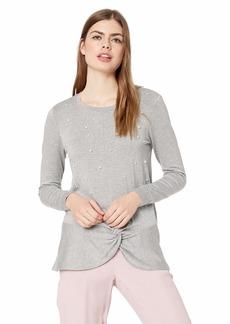 kensie Women's Drapey French Terry Pearl Sweatshirt  L